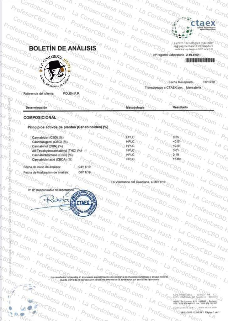 Hachís aromático de Cáñamo con 15,4% de CBD La Cordobesa hash