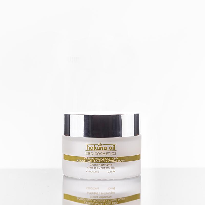 Crema Facial antiarrugas con CBD, Ácido Hialurónico y Coral Rojo · hakuna oil CBD COSMETICS