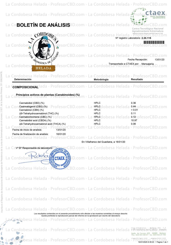 Cogollo de Flor Aromática de CBD La cordobesa Helada 10% - Cañamo Industrial - Analitica Cannabinoides